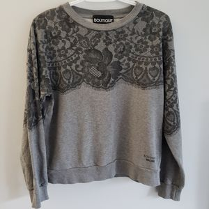 Boutique Moschino Lace Graphic Crewneck Sweater